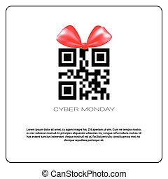 Cyber Monday Sale Poster With Qr Code And Ribbon Bow On White Background Holiday Online Shopping Poster Design