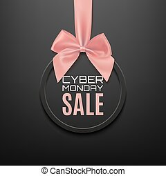 Cyber Monday sale round banner with pink ribbon and bow.