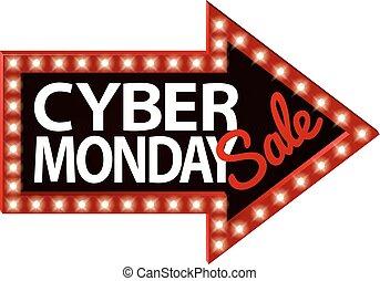 Cyber Monday Sale Sign Arrow
