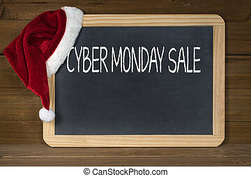 Cyber Monday sale sign on chalkboard