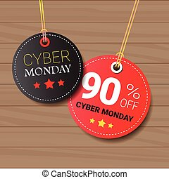 Cyber Monday Sale Tags Set On Wooden Textured Background Online Shopping Discount Round Icons Collection