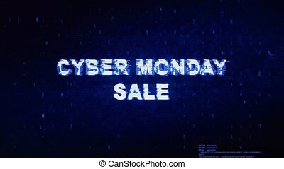 Cyber Monday Sale Text Digital Noise Twitch Glitch...