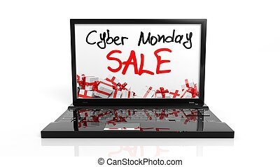 Cyber Monday Sale text on laptops screen, isolated on white.