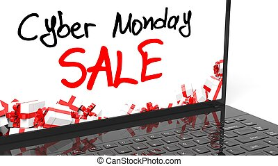 Cyber Monday Sale text on laptops screen.