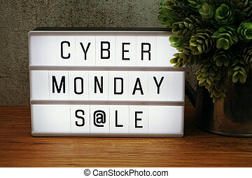 Cyber Monday Sale word in light box