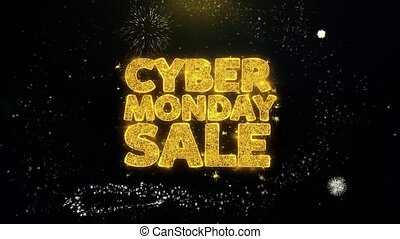 Cyber Monday Sale Written Gold Particles Exploding Fireworks...