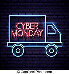 cyber monday shop car neon style vector illustration
