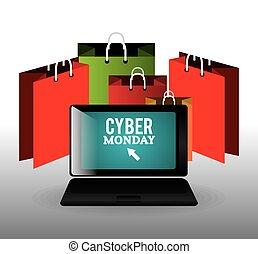 Cyber monday shopping season, vector illustration eps10.