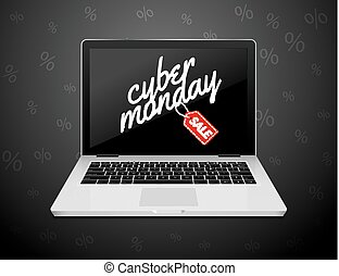 Cyber Monday sign on laptop screen. Vector internet shop sale background banner. Online sale discount