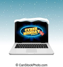 Cyber Monday sign on laptop screen. Vector online sale discount on winter background snow