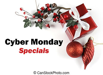 Cyber Monday Specials sale message greeting with Christmas gift and decorations on White background.