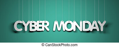 Cyber Monday - white words on teal background. 3d...