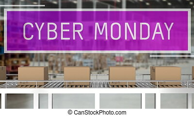 Cyber Monday with parcels on conveyor belts