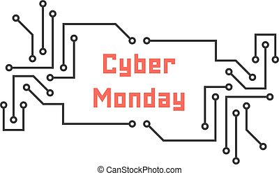 cyber monday with pcb elements. concept of black friday...