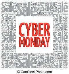 Cyber Monday words cloud, business concept background