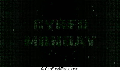 Cyber Monday words matrix code background 4K - Glowing green...