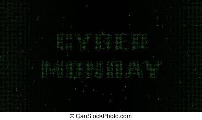 Cyber Monday words matrix code background 4K - Glowing green...