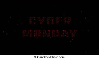 Cyber Monday words on digital matrix code 4K - Glowing red...