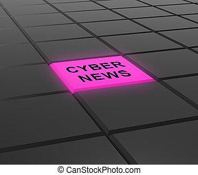 Cyber News Breaking Digital Headlines 3d Illustration