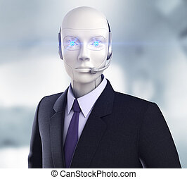 Cyber operator - Robot with headphones
