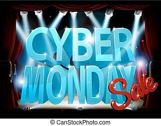 cyber, palcoscenico, vendita, lunedì, segno