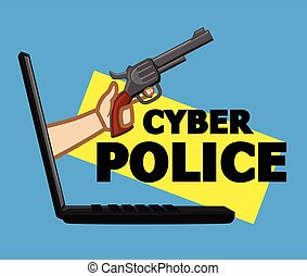 Cyber Police for Cybercrime Vector