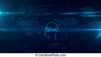 Cyber privacy concept with key in head loopable animation -...