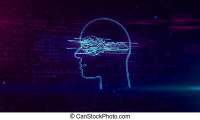 Cyber privacy concept with key in head looping animation -...