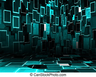 Cyber room - Illustration of cyber room, technology glowing...