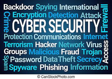 cyber, sécurité, mot, nuage