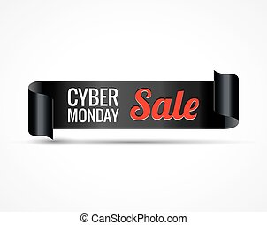 Cyber sale. Black realistic curved paper ribbon banner. Vector illustration