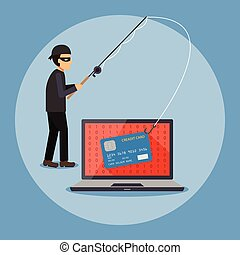 Cyber security and crime concept - Cyber thief, hacker,...