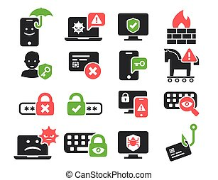 Cyber Security and threat icons set