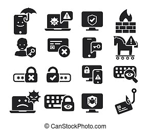 Cyber Security and threat icons set in BW