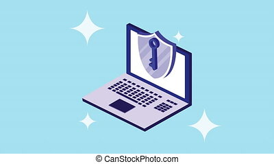 cyber security animation with laptop and shield ,4k video ...