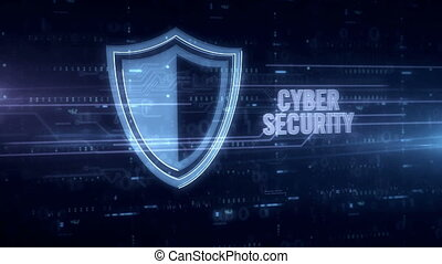 Cyber security blue hologram - Cyber security and padlock...