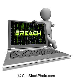Cyber Security Breach System Hack 3d Rendering Shows...