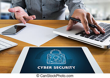 CYBER SECURITY Business, technology,FirewallAntivirus Alert...