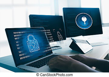 CYBER SECURITY Business technology secure Firewall Antivirus Alert Protection Security and Cyber Security Firewall