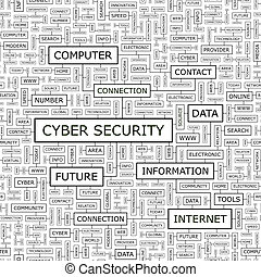 CYBER SECURITY. Seamless pattern. Word cloud illustration.