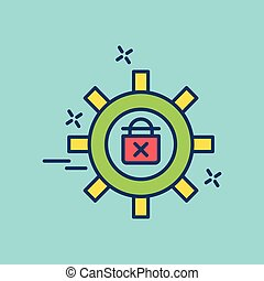 Cyber security colored icon with blue background