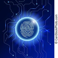 Cyber security concept. Abstract technology background. Fingerprint scanning in a glowing circle