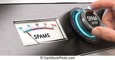 Cyber Security Concept, Anti Spam Filter. - Conceptual image...