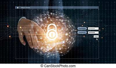 Cyber security concept. Businessman using smartphone and Log on screen with lock icon and circle global customer networking, a code digital on dark background.