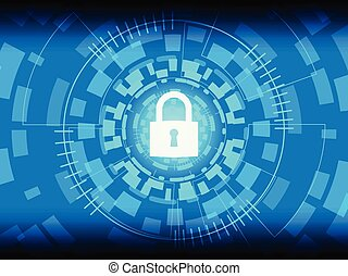 Closed Padlock on digital background.
