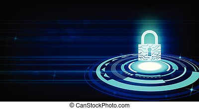 Closed Padlock on future technology background