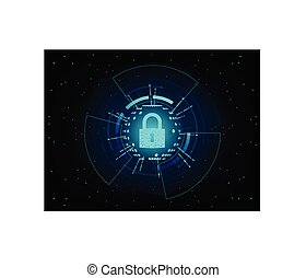 Closed Padlock on futuristic background.