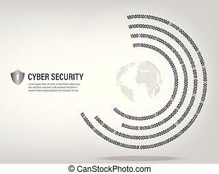 digital binary code circle background.