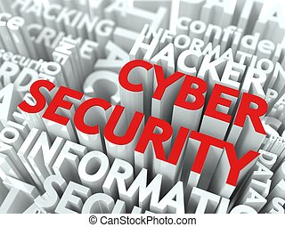Cyber Security Concept. The Word of Red Color Located over...
