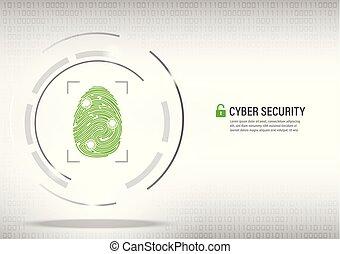 fingerprint on digital white background.